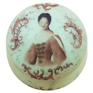 "Gorgeous Vintage 1900's Opal Glass Hand Painted ""Scene of A Lady"" Portrait Dresser Box"