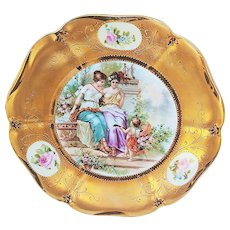 "Gorgeous RS Prussia [ES] 1900 ""Cherub Playing Mandolin to Two Ladies in A Garden"" Brilliant Gilded Scenic Plate"