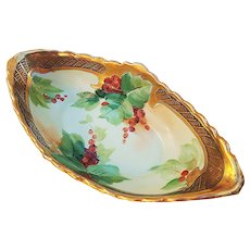 "Beautiful GDA Limoges France Vintage 1900's Hand Painted ""Red Currant"" 8"" Floral Finger Bowl by Artist, ""Uruich"""