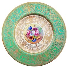 """Fabulous Royal Worcester 1900's Hand Painted """"Wild Flowers"""" 9-3/8"""" Raised Gilded Gold & Heavy Encrusted Floral Plate Made for Marshall Field of Chicago by Artist, """"S. Stanley"""""""