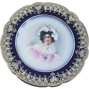 """Superb William Guerin Limoges France 1900's Hand Painted """"Portrait of A Lady In Feather Hat"""" 8-3/8"""" Plate, Artist Signed"""