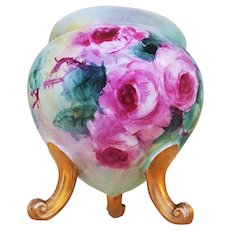 """Beautiful Bavaria 1900's Hand Painted """"Red Roses"""" 3-Footed Bulbous Floral Vase"""