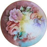 "Exceptional Bavaria 1900's Hand Painted ""Peach & Pink Roses"" 10-1/4"" Floral Plate by Artist, ""Etudd"""