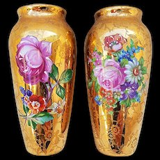 "Fontanille & Marraud Limoges France 1900's Pair of Hand Painted Enamel ""Roses & Wild Flowers"" Gilded Gold Floral Vases"