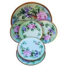 "Exceptional Elite Limoges France 1900's Hand Painted ""Pink & Lavender Mums"" Set of 6 Floral Dessert Set by Artist, ""C. Miles Surquist"""