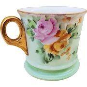 """Beautiful O.E.& G Royal Austria 1900's Hand Painted """"Pink & Yellow Roses"""" Floral Shaving Mug by the Artist, """"Reitz"""""""