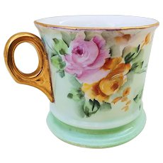 "Beautiful O.E.& G Royal Austria 1900's Hand Painted ""Pink & Yellow Roses"" Floral Shaving Mug by the Artist, ""Reitz"""
