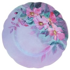 """Charles Field Haviland 1900 Hand Painted """"Pink Pansy"""" Floral Plate"""