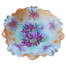 """Exceptional RS Prussia Vintage 1900 """"Christmas Poinsettia"""" Blown Out Iris Mold Peach Decor Floral Bowl"""
