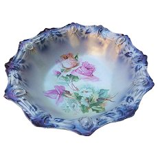 "Gorgeous RS Prussia Vintage 1900 ""Pink Roses & Daisies"" 10-5/8"" Ribbon & Jewel Mold Lavender Decor Floral Bowl"