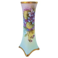"Fabulous Heinrich & Co. Selb Bavaria Vintage 1900's Hand Painted Vibrant ""Violets"" Floral Vase by Highly Regarded Artist, ""Josef Henke"""