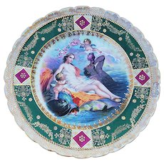 """Gorgeous Germany Vintage 1900 """"Birth of Venus"""" Partially Nude 9"""" Scenic Plate, Signed """"F. Boucher"""""""
