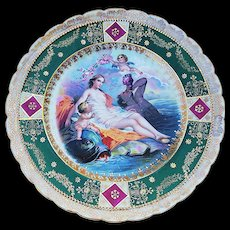 "Gorgeous Germany Vintage 1900 ""Birth of Venus"" Partially Nude 9"" Scenic Plate, Signed ""F. Boucher"""