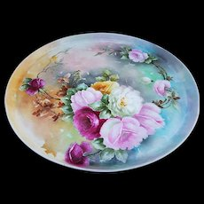 "Exceptional T & V Limoges France 1900's Hand Painted ""Red, Pink, Yellow, & White Roses"" 13-1/2"" Floral Tray"