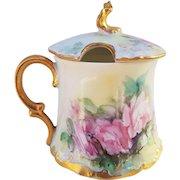 """Exquisite T & V Limoges France Vintage 1900's Hand Painted """"Pink Roses"""" Floral Mustard Pot by """"Weber's Studio"""""""