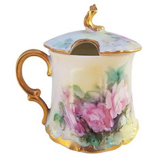 "Exquisite T & V Limoges France Vintage 1900's Hand Painted ""Pink Roses"" Floral Mustard Pot by ""Weber's Studio"""