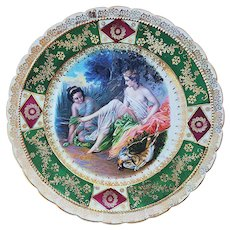 """RS Prussia [OS] 1900 """"Diana the Huntress"""" Partially Nude 9"""" Scenic Plate Signed """"F. Boucher"""""""