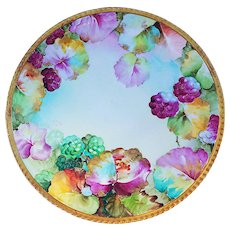 """Attractive Ginori Vintage 1900's Hand Painted """"Red & Green Grapes"""" 8-5/8"""" Fruit Decor Plate Artist Signed"""