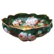 "Gorgeous Syracuse China Vintage 1907 Hand Painted ""White Roses"" Pedestal Floral Fruit Bowl by Pickard Artist ""Erhardt Seidel"""
