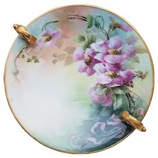 """Simply Gorgeous Vintage T & V Limoges France 1900's Hand Painted """"Pink-Lavender Pansy"""" 9-3/8"""" Double Handle Floral Nappy"""