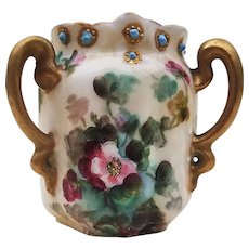 """Beautiful Vintage Bavaria 1900's Hand Painted """"Red & Pink Pansy"""" 2-1/2"""" Floral & Blue Beaded 3-Handle Toothpick Holder"""