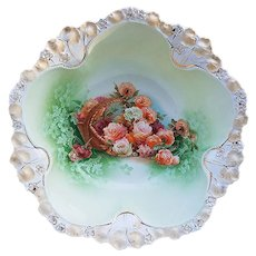 "Beautiful Vintage RS Prussia 1900 ""Basket of Flowers"" 10-1/2"" Floral Bowl"