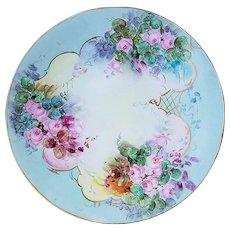 "Wonderful Vintage Jean Pouyat Limoges France 1903 Hand Painted ""Petite Pink Roses"" 9-1/4"" Floral Plate by Artist, ""Treadgata"""