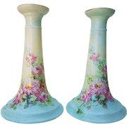 "Beautiful PL Limoges France Vintage 1900's Hand Painted ""Pink Roses"" 7"" Floral Candlestick Holders"