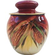 """Gorgeous PL Limoges France 1914 Hand Painted """"Indian Corn"""" Scenic Humidor by Chicago Decorator, """"Frederick R. Cross"""""""