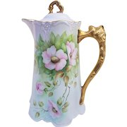 """Stunning Bavaria 1900's Hand Painted """"Pink Pansy"""" 10"""" Floral Chocolate Pot by Artist, """"G. Wireball"""""""