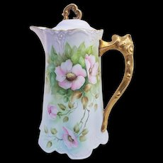 "Stunning Bavaria 1900's Hand Painted ""Pink Pansy"" 10"" Floral Chocolate Pot by Artist, ""G. Wireball"""