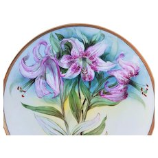 """Professionally Decorated Thomas Bavaria Vintage 1900's Hand Painted """"Lavender Lilies"""" 10-3/4"""" Floral Plate"""