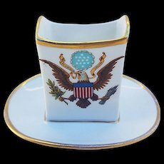 "Scarce Vintage Limoges France 1900's White House Presidential China 3"" Match Holder from the Washington DC National Remembrance Shop"