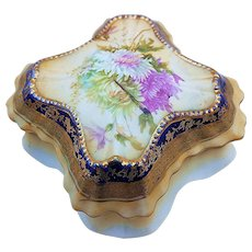 "Gorgeous RS Prussia Vintage 1900 ""Lavender, Yellow, & White Mums"" Cobalt Blue Dresser Box"