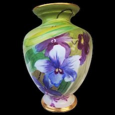 "William Guerin Limoges France 1900's Hand Painted ""Lavender & Red-Purple Iris"" 9"" Floral Vase"