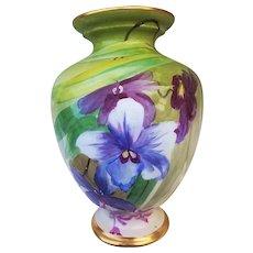 "William Guerin Limoges France 1900's Hand Painted ""Lavender & Red-Purple Iris"" 9"" Floral Vase"