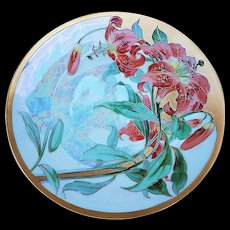 "Gorgeous Thomas Bavaria 1900's Hand Painted ""Burnt Orange Tulips"" 10-3/4"" Floral Plate"