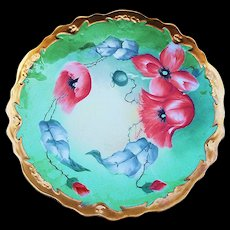 "Attractive Coronet Limoges France 1900's Hand Painted ""Burnt Orange Poppy"" Floral Plate by the Artist, ""Barbot"""