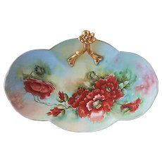 "Stunning William Guerin Limoges France 1900's Hand Painted ""Burnt Orange Poppy"" 10-3/4"" Floral Tray Artist Signed"