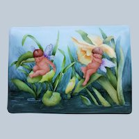 """Outstanding Bavaria 1900's Hand Painted """"Two Putti's Sleeping On Jonquils & Lilies"""" 7-1/2"""" Scenic Dresser Box Casket by Artist, """"Helen Smith"""""""