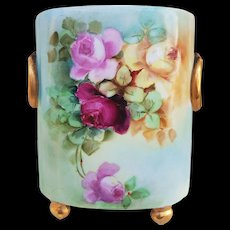 "Charming William Guerin Limoges France 1903 Hand Painted ""Red, Pink, & Yellow Roses"" Floral Cache Pot by Artist, ""Lillian Hootland"""