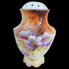 "Beautiful RS Prussia Vintage 1900's ""Iris"" 4-1/4"" Floral Sugar Shaker"