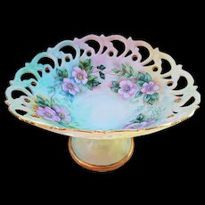 "Vibrant Bavaria 1900's Hand Painted ""Wild Pink Roses"" 6"" Floral Compote with Pierced Work by Artist, ""Dot Maia"""