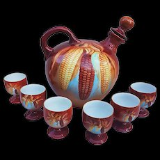 "Beautiful Jean Pouyat Limoges France 1900's Hand Painted ""Indian Corn"" 7-Pc Whiskey Jug & Shot Set"