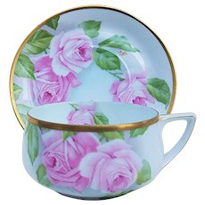 """Gorgeous Rosenthal Bavaria 1900's Hand Painted """"Pink Roses"""" Floral Mustache Cup & Saucer by Artist, """"Aigle"""""""