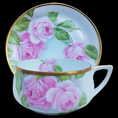 "Gorgeous Rosenthal Bavaria 1900's Hand Painted ""Pink Roses"" Floral Mustache Cup & Saucer by Artist, ""Aigle"""