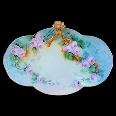 "Exceptional Vintage William Guerin Limoges France 1900's Hand Painted ""Pink Roses"" 10-5/8"" Floral Tray by Artist, ""M. Zimmerman"""