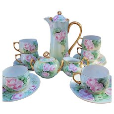 "Spectacular JR Bavaria 1900's Hand Painted Vibrant ""Pink Roses"" 17 Pc Floral Tea Set by the Artist, ""M. Zimmerman"""