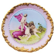 "Outstanding T & V Limoges France 1900's Hand Painted ""Two Putti's & A Boy"" Rococo Style Scenic Plate by Artist, ""L. Bensinger"""