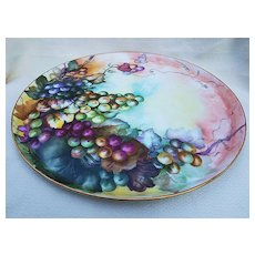 "Fabulous T & V Limoges France 1900's Hand Painted ""Purple & Green Grapes"" 13-1/2"" Tray"